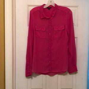 Sheer Hot Pink Shirt - American Eagle - Size M